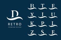 Abstrakte Zeichenauslegung Moderne Embleme Satz Großbuchstaben auf der Welle Kennzeichen der Unterscheidung Minimale Elemente Uni vektor abbildung
