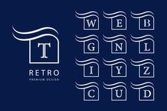 Abstrakte Zeichenauslegung Moderne Embleme Satz Monogramme mit Großbuchstaben Kennzeichen der Unterscheidung Minimale Elemente Un stock abbildung