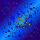 Abstrakte Zeichnung von den Kreisen angeschlossen durch Linien als Neuronen oder Verbindungen zwischen Planeten vektor abbildung