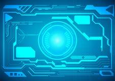 Abstrakte Zukunft, futuristische blaue virtuelle Grafik des Konzeptvektors Stockfotos