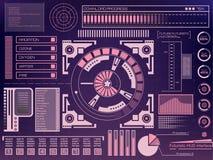 Abstrakte Zukunft, Noten-Benutzerschnittstelle HUD des Konzeptes futuristische blaue virtuelle grafische Für Netz Standort, beweg vektor abbildung