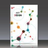 Abstrakte Zusammensetzung, Bau des chemischen Elements, Punkte, zeichnet die Verbindung, Titelblatt der Broschüre a4, DNA-Hinterg Lizenzfreies Stockbild