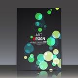 Abstrakte Zusammensetzung, geometrische Formikone, grüne Blasenverzierung, Titelblatt der Broschüre a4, runder Logobauhintergrund Lizenzfreies Stockbild