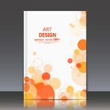 Abstrakte Zusammensetzung, geometrische Formikone, orange Blasenverzierung, Titelblatt der Broschüre a4, runder Logobauhintergrun Lizenzfreie Stockfotografie