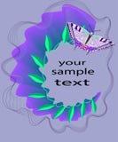 Abstrakte Zusammensetzung mit Blättern und einem Schmetterling auf purpurrotem Hintergrund Lizenzfreies Stockfoto