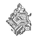 Abstrakte Zusammensetzung mit geometrischen Formen stock abbildung
