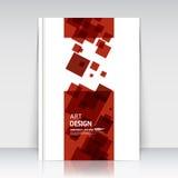 Abstrakte Zusammensetzung, quadratische Textrahmenoberfläche, rotes Titelblatt der Broschüre a4, kreative Zahl Logozeichenbau, fe Stockfotos