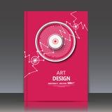 Abstrakte Zusammensetzung, runde Bau-, Verbindungspunkte und Linien, Titelblatt der Broschüre a4, Raumhintergrund, Laserlicht str Stockfotos