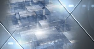 Abstrakter Übergang mit futuristischem Würfel bildet sich gestapelt und Glühen Stockbilder