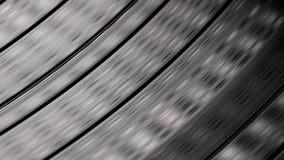Abstrakter Abschluss oben der Vinyldiskette, die auf Drehscheibe spinnt stock video