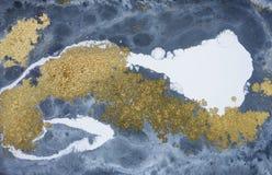 Abstrakter Acrylmarmorierunghintergrund Blaue marmornde Grafikbeschaffenheit Achatkräuselungsmuster Stockbild