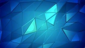 Abstrakter Animationspolyhintergrund der blauen Kristalle stock video footage