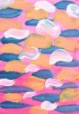 Abstrakter Aquarellhintergrund Auf einem rosa Hintergrund sind interessante blaue, gelbe und weiße Bürstenanschläge stock abbildung