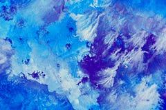 Abstrakter Aquarellhintergrund mit blauen Mustern Stockbild