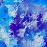 Abstrakter Aquarellhintergrund mit blauen Mustern Stockbilder