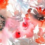 Abstrakter Aquarellhintergrund mit Blumen Lizenzfreie Stockfotos