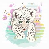 Abstrakter Aquarellmuster-Babyleopard stock abbildung