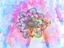 Abstrakter Aquarellpapierhintergrund mit dekorativem Mandalamuster lizenzfreie abbildung