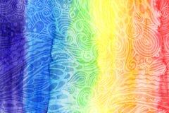 Abstrakter Aquarellregenbogen färbt Hintergrund Stockfotos