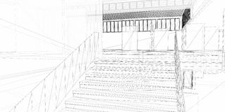 Abstrakter Architekturaufbau 3D Lizenzfreie Stockfotos