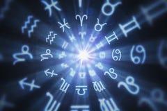 Abstrakter Astrologiehintergrund mit Sternzeichen im Kreis 3D übertrug Abbildung vektor abbildung
