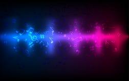 Abstrakter Audioschallwelleentzerrer Bunte dunkle glühende Schablone des soliden Konzeptes der Musik Stockfotografie