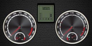 Abstrakter Autogeschwindigkeitsmesser mit Anzeige digitalem und strukturiertem leath lizenzfreie abbildung