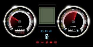 Abstrakter Autogeschwindigkeitsmesser und Anzeige digital, Hintergrund stock abbildung