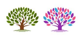 Abstrakter Baum mit Blättern Ökologie, eco, Umweltnaturikone oder Logo Auch im corel abgehobenen Betrag Lizenzfreies Stockfoto