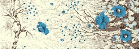 Abstrakter Baum mit klassischer Blume lizenzfreie abbildung