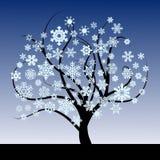 Abstrakter Baum mit Schneeflocken stock abbildung