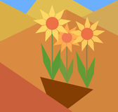 Abstrakter Begriff von flachen Blumen Stockbild