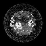 Abstrakter Bereich mit glänzender Wiedergabe des Würfels 3D Lizenzfreies Stockbild