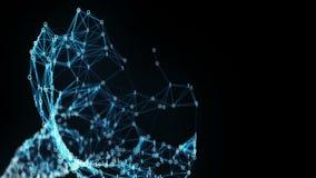 Abstrakter Bewegungs-Hintergrund - ein Fliegen durch binären Plexus-Trichter Digital stock abbildung