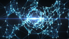Abstrakter Bewegungs-Hintergrund - ein Fliegen durch Plexus-Trichter-Schleife Digital binäre stock abbildung