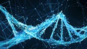 Abstrakter Bewegungs-Hintergrund - Plexus Digital binäre DNA-Molekül 4k Schleife stock abbildung