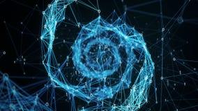 Abstrakter Bewegungs-Hintergrund - Plexus Digital binäre DNA-Spirale 4k Schleife stock video