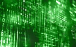 Abstrakter binärer Code Wolkendaten Blockchain-Technologie Digital-Cyberspace Großes Datenkonzept vektor abbildung