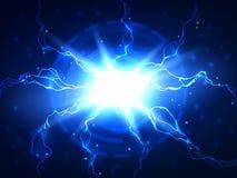 Abstrakter blauer Blitzvektor-Wissenschaftshintergrund Stockbild