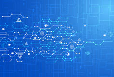 Abstrakter blauer digitaler Kommunikationstechnologiehintergrund lizenzfreie abbildung