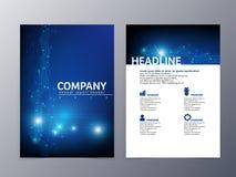 Abstrakter blauer Fliegerdesign-Schablonenvektor a4 Stockfotografie