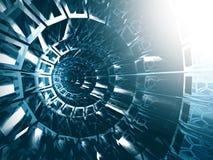 Abstrakter blauer futuristischer Tunnel-Hintergrund Lizenzfreies Stockfoto