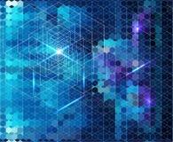 Abstrakter blauer geometrischer Hintergrund mit Glühen Stockfoto