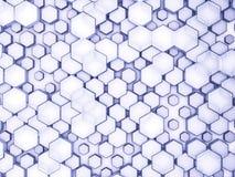Abstrakter blauer Glashintergrund des Hexagons 3d Stockfoto