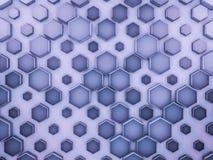 Abstrakter blauer Glashintergrund des Hexagons 3d Stockbilder