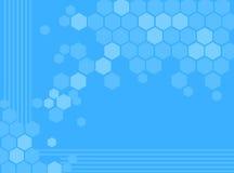 Abstrakter blauer Hexagonhintergrund Stockfotos