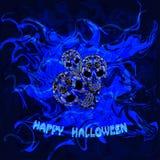 Abstrakter blauer Hintergrund mit den Schädeln und den Wörtern glückliches Halloween Lizenzfreie Stockfotografie