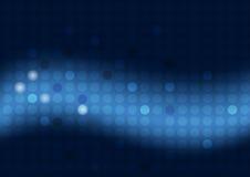 Abstrakter blauer Hintergrund mit Kreisen und breitem undeutlichem hellem Streifen Lizenzfreies Stockbild