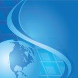 Abstrakter blauer Hintergrund mit Kugel vektor abbildung