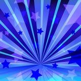 Abstrakter blauer Hintergrund mit Sternen und dem Ausstrahlen Stock Abbildung